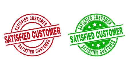 Round SATISFIED CUSTOMER watermarks. Flat vector scratched stamp watermarks with SATISFIED CUSTOMER phrase inside circle and lines, in red and green colors. Watermarks with corroded surface. Vecteurs