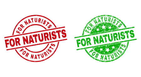 Round FOR NATURISTS watermarks. Flat vector grunge stamp watermarks with FOR NATURISTS text inside circle and lines, using red and green colors. Stamp imprints with corroded style.