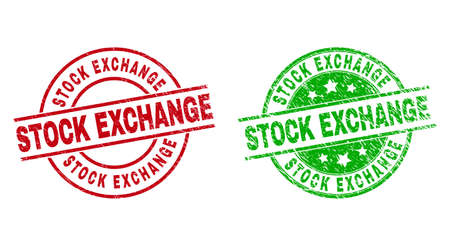 Round STOCK EXCHANGE stamp badges. Flat vector distress stamp watermarks with STOCK EXCHANGE text inside circle and lines, in red and green colors. Watermarks with distress surface. 矢量图像