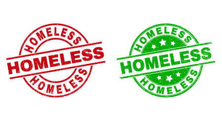 Round HOMELESS stamp badges. Flat vector distress stamp watermarks with HOMELESS phrase inside circle and lines, using red and green colors. Stamp imprints with distress surface.