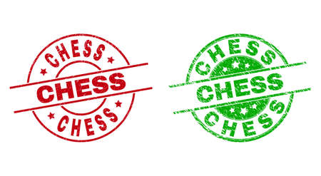 Round CHESS stamp badges. Flat vector textured stamp watermarks with CHESS phrase inside circle and lines, in red and green colors. Stamp imprints with grunged surface. 矢量图像