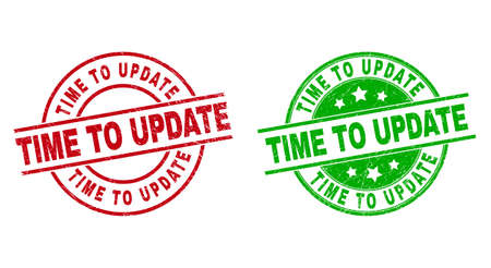 Round TIME TO UPDATE watermarks. Flat vector textured stamp watermarks with TIME TO UPDATE phrase inside circle and lines, using red and green colors. Stamp imprints with corroded style. 矢量图像