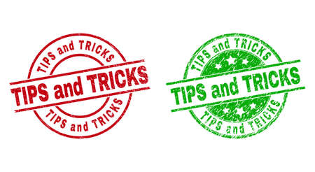 Round TIPS AND TRICKS seal stamps. Flat vector textured seal stamps with TIPS AND TRICKS title inside circle and lines, using red and green colors. Watermarks with scratched surface. 矢量图像