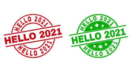 Round HELLO 2021 seal stamps. Flat vector grunge seal stamps with HELLO 2021 title inside circle and lines, using red and green colors. Stamp imprints with distress texture.