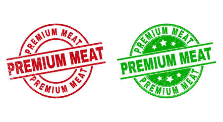 Round PREMIUM MEAT seal stamps. Flat vector scratched seal stamps with PREMIUM MEAT message inside circle and lines, using red and green colors. Watermarks with unclean surface. 矢量图像