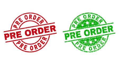 Round PRE ORDER stamp badges. Flat vector grunge stamp watermarks with PRE ORDER title inside circle and lines, using red and green colors. Watermarks with unclean texture.