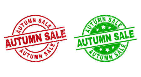 Round AUTUMN SALE stamps. Flat vector textured seal stamps with AUTUMN SALE message inside circle and lines, in red and green colors. Rubber imitations with corroded style.