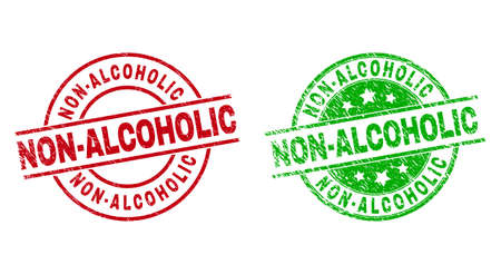 Round NON-ALCOHOLIC seal stamps. Flat vector distress seal stamps with NON-ALCOHOLIC title inside circle and lines, using red and green colors. Stamp imprints with grunge texture.