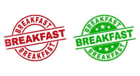 Round BREAKFAST seal stamps. Flat vector scratched seal stamps with BREAKFAST title inside circle and lines, using red and green colors. Rubber imitations with corroded texture.
