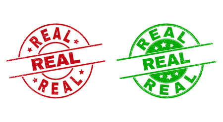 Round REAL watermarks. Flat vector scratched stamp watermarks with REAL caption inside circle and lines, in red and green colors. Rubber imitations with scratched texture.