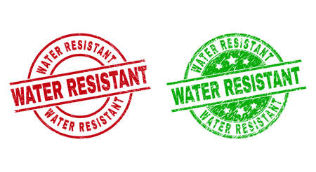 Round WATER RESISTANT watermarks. Flat vector distress seal stamps with WATER RESISTANT text inside circle and lines, in red and green colors. Watermarks with corroded surface.