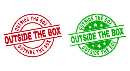 Round OUTSIDE THE BOX stamp badges. Flat vector scratched badges with OUTSIDE THE BOX caption inside circle and lines, using red and green colors. Stamp imprints with grunged texture. 矢量图像
