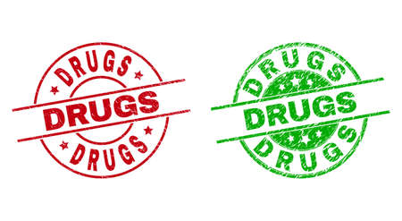 Round DRUGS stamps. Flat vector distress stamp watermarks with DRUGS title inside circle and lines, in red and green colors. Stamp imprints with unclean texture. 矢量图像