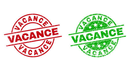 Round VACANCE seal stamps. Flat vector distress stamps with VACANCE phrase inside circle and lines, using red and green colors. Watermarks with grunged surface.