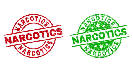 Round NARCOTICS stamps. Flat vector grunge seal stamps with NARCOTICS caption inside circle and lines, using red and green colors. Watermarks with corroded texture. 矢量图像