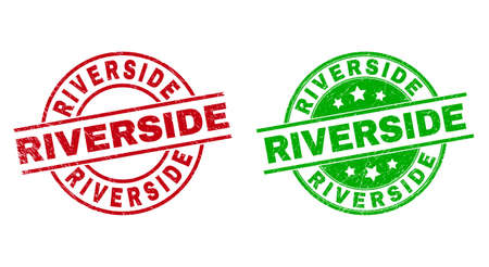 Round RIVERSIDE seal stamps. Flat vector grunge seal stamps with RIVERSIDE title inside circle and lines, using red and green colors. Watermarks with scratched texture. 矢量图像
