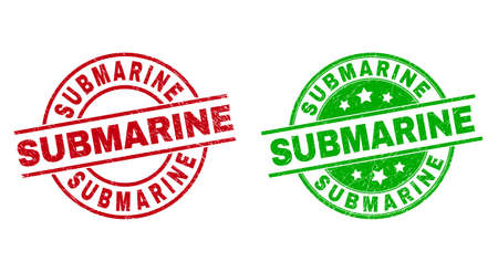 Round SUBMARINE seal stamps. Flat vector grunge seal stamps with SUBMARINE title inside circle and lines, in red and green colors. Rubber imitations with distress texture.