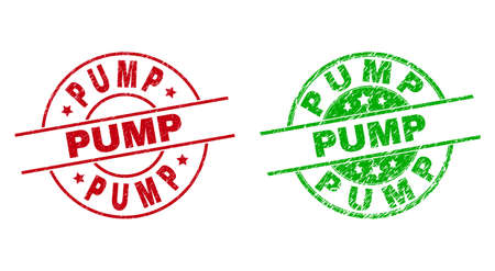 Round PUMP seal stamps. Flat vector scratched stamps with PUMP text inside circle and lines, using red and green colors. Rubber imitations with corroded texture. 矢量图像