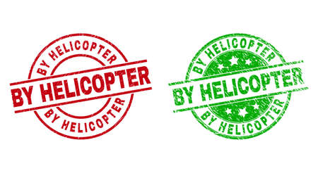 Round BY HELICOPTER stamp badges. Flat vector scratched stamps with BY HELICOPTER title inside circle and lines, in red and green colors. Stamp imprints with scratched style.