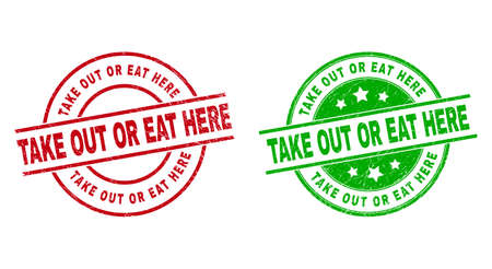 Round TAKE OUT OR EAT HERE stamp badges. Flat vector textured stamp watermarks with TAKE OUT OR EAT HERE text inside circle and lines, using red and green colors. Watermarks with scratched surface.