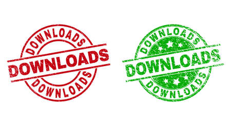 Round DOWNLOADS watermarks. Flat vector distress badges with DOWNLOADS caption inside circle and lines, in red and green colors. Watermarks with distress texture. 矢量图像
