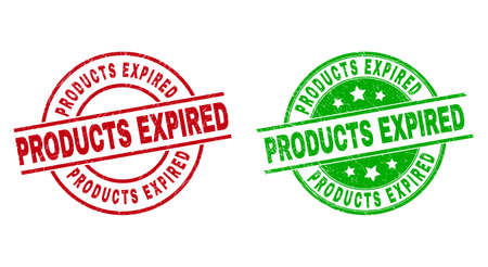 Round PRODUCTS EXPIRED seal stamps. Flat vector textured seal stamps with PRODUCTS EXPIRED caption inside circle and lines, in red and green colors. Rubber imitations with corroded style. 矢量图像
