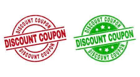 Round DISCOUNT COUPON watermarks. Flat vector grunge seals with DISCOUNT COUPON phrase inside circle and lines, using red and green colors. Watermarks with grunge texture.