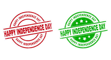 Round HAPPY INDEPENDENCE DAY stamp badges. Flat vector grunge stamp watermarks with HAPPY INDEPENDENCE DAY phrase inside circle and lines, using red and green colors.