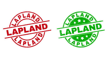 Round LAPLAND stamp badges. Flat vector distress badges with LAPLAND phrase inside circle and lines, using red and green colors. Rubber imitations with distress surface.