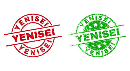 Round YENISEI badge stamps. Flat vector distress stamp watermarks with YENISEI message inside circle and lines, using red and green colors. Stamp imprints with corroded surface. 矢量图像