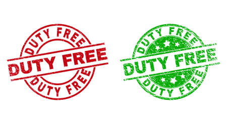Round DUTY FREE stamp badges. Flat vector grunge stamp watermarks with DUTY FREE text inside circle and lines, using red and green colors. Stamp imprints with unclean texture. 矢量图像