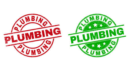Round PLUMBING watermarks. Flat vector distress stamp watermarks with PLUMBING text inside circle and lines, using red and green colors. Watermarks with distress style.