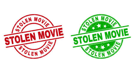Round STOLEN MOVIE stamp badges. Flat vector textured stamp watermarks with STOLEN MOVIE caption inside circle and lines, using red and green colors. Rubber imitations with distress style.