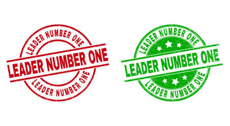 Round LEADER NUMBER ONE watermarks. Flat vector textured stamp watermarks with LEADER NUMBER ONE message inside circle and lines, in red and green colors. Stamp imprints with grunge style.