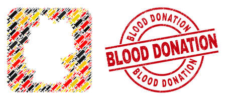German map mosaic in German flag official colors - red, yellow, black, and dirty Blood Donation red round badge. Blood Donation stamp uses vector lines and arcs. 矢量图像