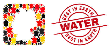 Germany map mosaic in German flag official colors - red, yellow, black, and dirty Best in Earth Water red circle stamp seal. Best in Earth Water seal uses vector lines and arcs. 矢量图像