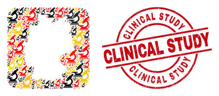 Germany map mosaic in German flag official colors - red, yellow, black, and distress Clinical Study red circle stamp. Clinical Study stamp uses vector lines and arcs.