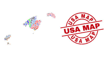 Balearic Islands map mosaic and USA Map red round stamp seal. USA Map stamp uses vector lines and arcs. Balearic Islands map mosaic includes gears, houses, showers, suns, hands, and more icons. Vecteurs