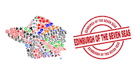 Faial Island map mosaic and rubber Edinburgh of the Seven Seas red circle stamp print. Edinburgh of the Seven Seas stamp uses vector lines and arcs. Faial Island map mosaic includes gears, homes,