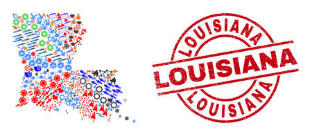 Louisiana State map collage and scratched Louisiana red round stamp seal. Louisiana stamp uses vector lines and arcs. Louisiana State map collage includes markers, houses, showers, bugs, hands,