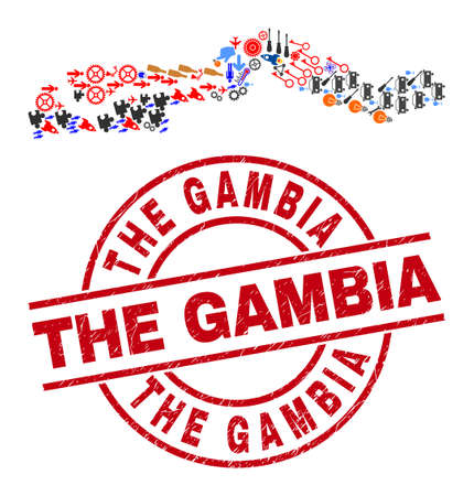 The Gambia map collage and grunge The Gambia red circle stamp seal. The Gambia stamp uses vector lines and arcs. The Gambia map collage includes helmets, houses, wrenches, bugs, hands,