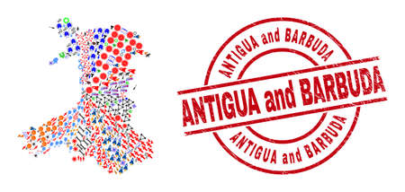 Wales map collage and grunge Antigua and Barbuda red round stamp print. Antigua and Barbuda badge uses vector lines and arcs. Wales map collage includes helmets, houses, showers, suns, stars,