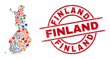 Finland map mosaic and distress Finland red round stamp seal. Finland badge uses vector lines and arcs. Finland map mosaic contains helmets, houses, showers, suns, people, and more pictograms.