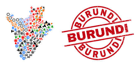 Burundi map mosaic and rubber Burundi red round seal. Burundi seal uses vector lines and arcs. Burundi map mosaic includes markers, houses, showers, suns, people, and more pictograms. Illustration