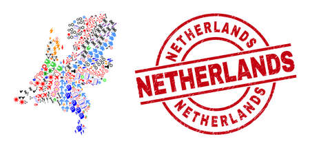 Netherlands map collage and unclean Netherlands red circle badge. Netherlands badge uses vector lines and arcs. Netherlands map collage includes gears, homes, screwdrivers, bugs, people, Illustration