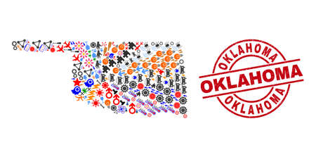 Oklahoma State map collage and scratched Oklahoma red circle badge. Oklahoma badge uses vector lines and arcs. Oklahoma State map collage includes markers, houses, lamps, suns, stars,