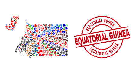 Equatorial Guinea map collage and Equatorial Guinea red round seal. Equatorial Guinea badge uses vector lines and arcs. Equatorial Guinea map collage contains helmets, homes, showers, suns, people,
