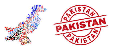 Pakistan map collage and scratched Pakistan red circle badge. Pakistan badge uses vector lines and arcs. Pakistan map collage contains helmets, homes, showers, suns, men, and more pictograms. Illustration