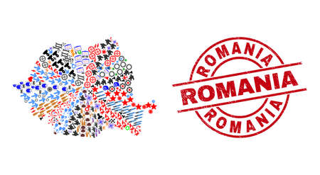 Romania map mosaic and unclean Romania red circle stamp. Romania stamp uses vector lines and arcs. Romania map mosaic contains helmets, houses, showers, suns, men, and more icons.