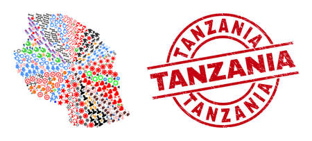 Tanzania map collage and rubber Tanzania red circle stamp imitation. Tanzania badge uses vector lines and arcs. Tanzania map collage includes gears, homes, wrenches, suns, stars, and more icons.